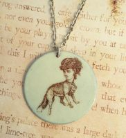 Foxy Lady Sideshow Freak Enamel Necklace by FusedElegance