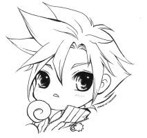 Lineart For Share - 05 Final Fantasy Cloud Sweet by TashaChan