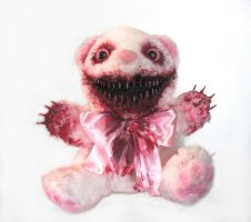 Scare Bear (pink and white) by OddandOddesss