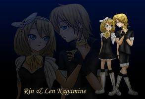 Rin and Len Kagamine by LadyGalatee