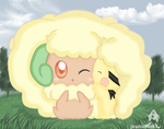 Whimsicott  and pichu by jirachicute28
