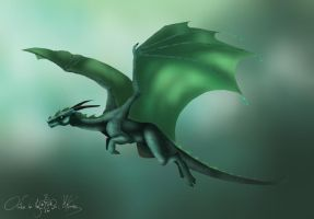 Green dragon flying by aiduqui