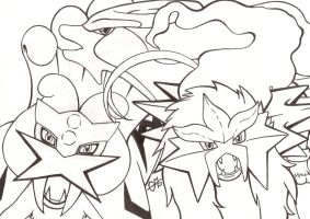 Entei, Suicune and Raikou WIP by Chrisszilla