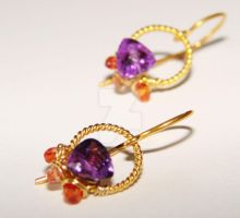 Amethyst Sapphire Earrings by CrysallisCreations