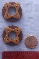 Maroon-and-Gold Quatrefoil Ring Buttons by CageyJay