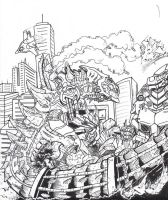 Cyber-Zilla vs Kiryu by Deadpoolrus