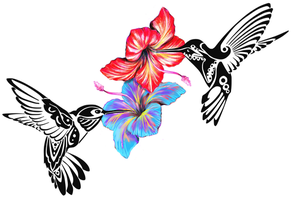 Hummingbirds Diff Flowers by Catluckey