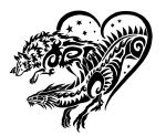 Dragon and Wolf tribal by Sunima
