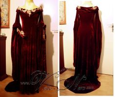 Guinevere red velvet gown Merlin cosplay costume by Volto-Nero-Costumes