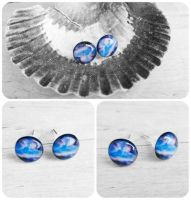 Handmade Resin Blue and Purple Galaxy Stud Earring by crystaland
