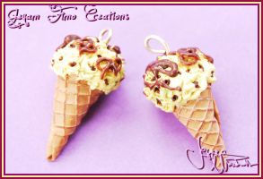 Pretzel Ice Cream - Earrings by Jeyam-PClay