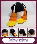 Bunny Hat Black and Candy Corn Ears by cutekick