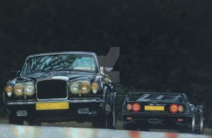 Bentley Continental and Ferrari F40 by exotic-legends