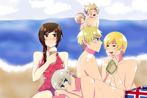 Art Trade: Beach with Nordic by Strawberry-Ribbons
