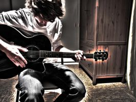 playing the guitar, HDR by strauseba