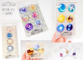 SunsetDragon Button and Charm Sets by Flying-Fox