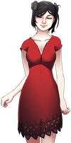 Girl in a red dress by skimlines