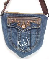 Blue-Jean Leather Shield Bag by SmilingMoonCreations