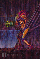 Metroid NES - A3 Acrylic on paper by r4fu