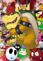 Koopa and his troopers by T-RexJones