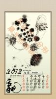 July -- 2012 Fractal Ink Calendar by fengda2870