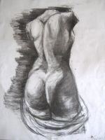 Female nude, charcoal drawing 2 by KaLa89