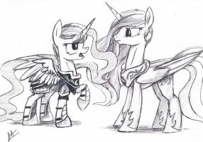 Luna and Celestia Sketch by NavigatorAlligator