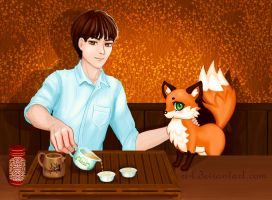 Tea with Fox by rivinca