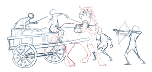 Horse drawn robbery sketch by DawnFrost