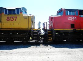 Train Engines 8137 and 2244 by BuzzyG