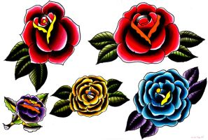 tattoo flash roses by wilkamania