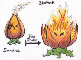 Fakemon - Smokernel and Bloomber by zokwani