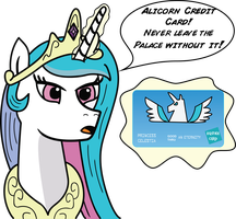 Princess Celestia and her Alicorn Credit Card by daimando