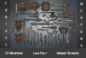 Fantasy Weapons Collection - 3D Low Poly by 3DGameModelsNet