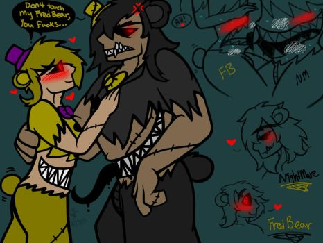 Nightmare and Fredbear (FNaF 4 Human) by YaoiLover113