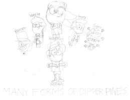 Sonic Bubbly Falls Sketches - Dipper Forms by SuperSonicBros2012
