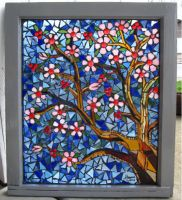 Stain Glass Mosaic Cherry Tree by reflectionsshattered