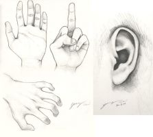 Pencil Sketching - Hands n Ear by JerryCai