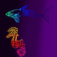 Tribal Shark and Seahorse by NullAndArt