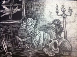 Vincent Price and the Raven by Fuzzy-Gremlin