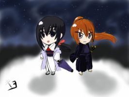 Chibi: Kenshin and Tomoe under the stars by KuroganeLMortsauf