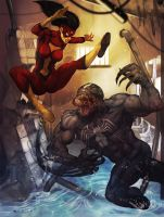 Spider Woman vs Venom by Aracubus