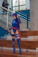 Psylocke on the Stairs by Stormfalcon