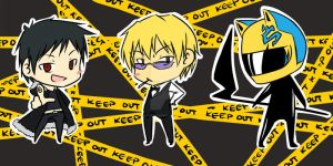Chibi DRRR- Izaya,Shizuo,Celty by attorneyhoboninja
