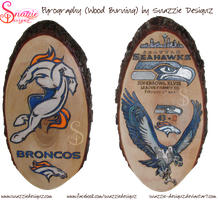 Denver Broncos and Seattle Seahawks Pyrographs by snazzie-designz