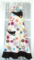 Handcrafted Full-Length Apron: Mod Flowers by JKGiles