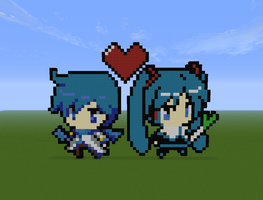 Kaito and Miku Pixel Art  on Minecraft by Darkbrussel