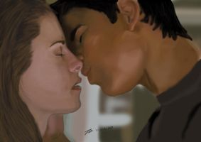 Bella and Jackob kissing by Zifonz