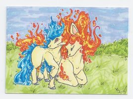 ACEO: Ponyta and Rapidash (Sold) by Kiocah