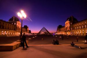 louvre in paris at night by meenags